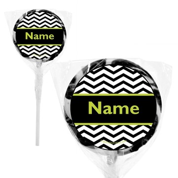 "Lime Chevron Personalized 2"" Lollipops (20 Pack)"
