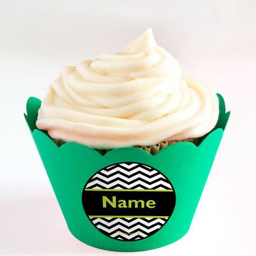 Lime Chevron Personalized Cupcake Wrappers (Set of 24)