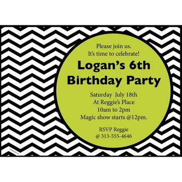 Lime Chevron Personalized Invitation (Each)