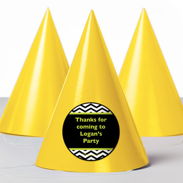 Lime Chevron Personalized Party Hats (8 Count)