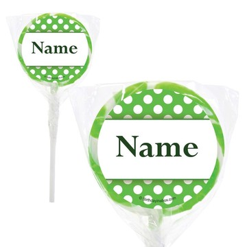 """Lime Dots Personalized 2"""" Lollipops (20 Pack)"""