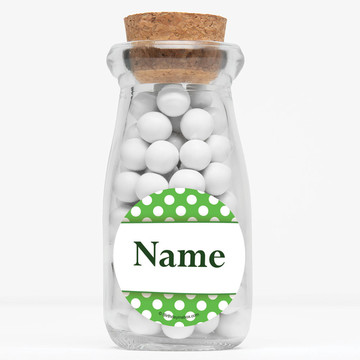 """Lime Dots Personalized 4"""" Glass Milk Jars (Set of 12)"""