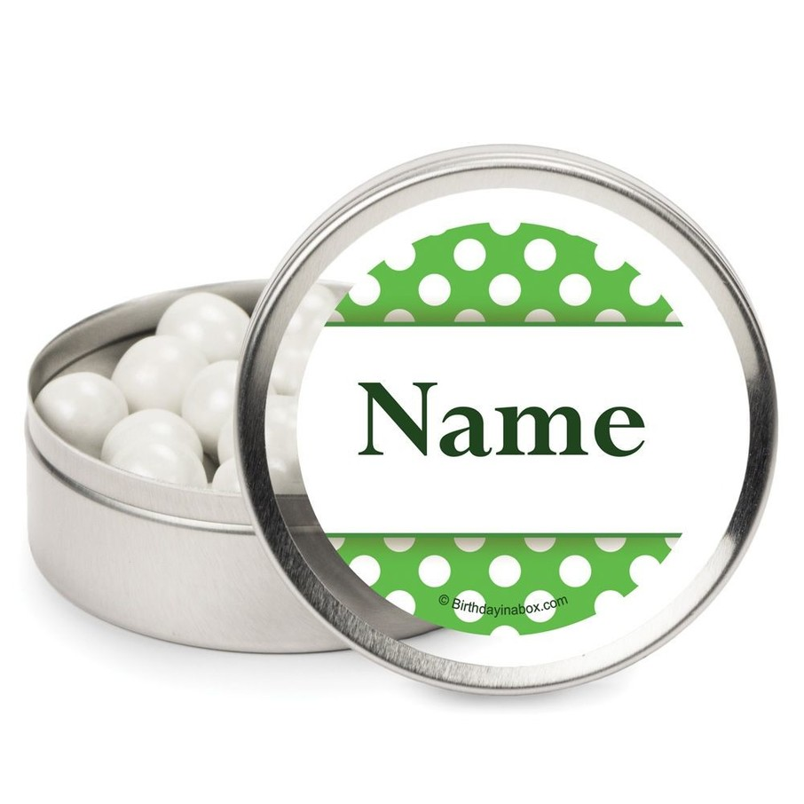 View larger image of Lime Dots Personalized Candy Tins (12 Pack)