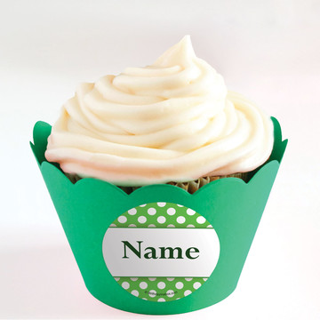 Lime Dots Personalized Cupcake Wrappers (Set of 24)