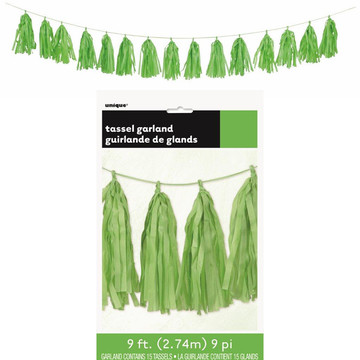 Lime Green Tissue Tassel 9' Garland