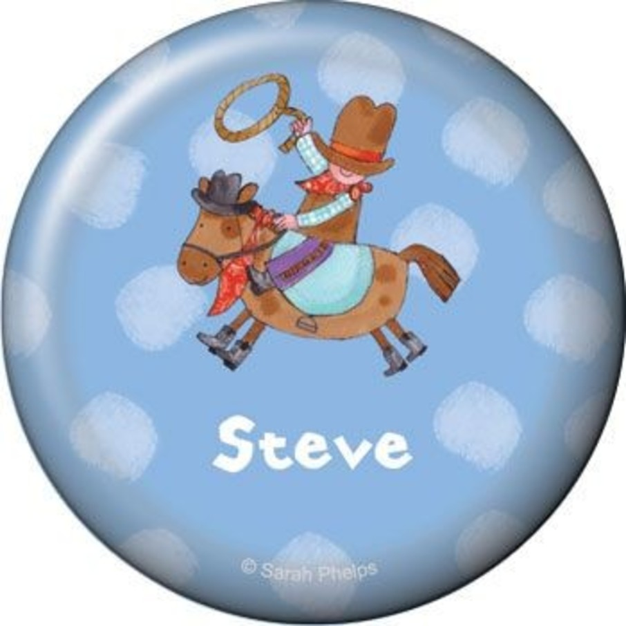 View larger image of Little Cowboy Party Personalized Button (each)