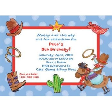 Little Cowboy Party Personalized Invitation (each)