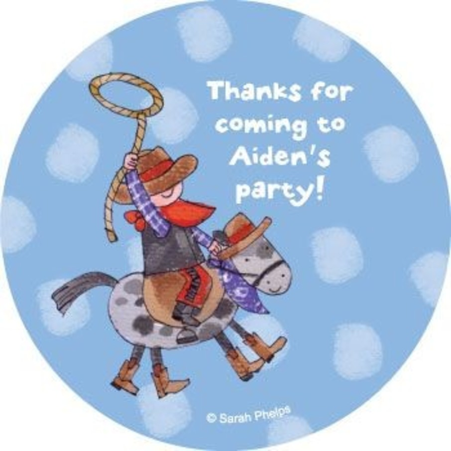 View larger image of Little Cowboy Party Personalized Stickers (sheet of 12)