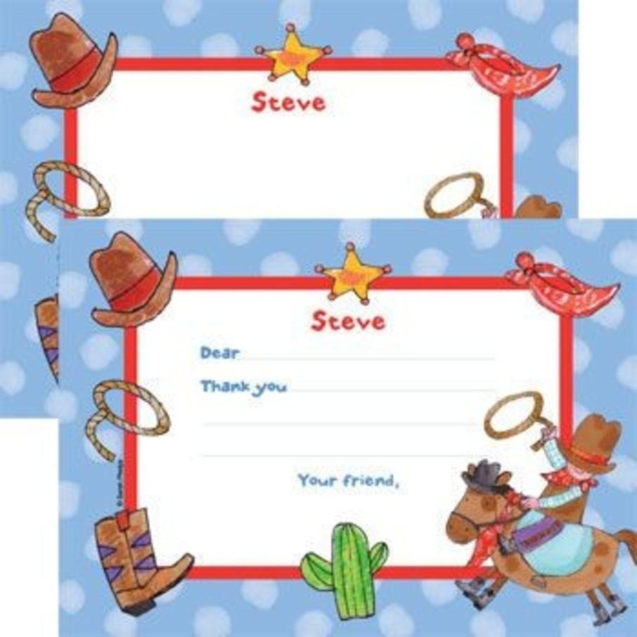 View larger image of Little Cowboy Party Personalized Thank You Note (each)