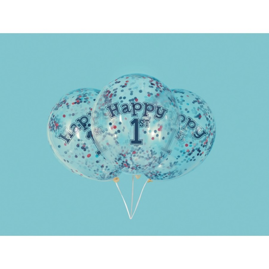 "View larger image of Little Sailor Nautical First Birthday Clear Latex Balloons with Confetti 12"", 6ct - Pre-Filled"