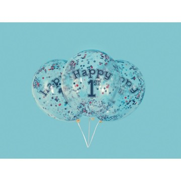 "Little Sailor Nautical First Birthday Clear Latex Balloons with Confetti 12"", 6ct - Pre-Filled"