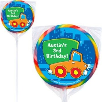 Little Truck Party Personalized Lollipops (pack of 12)
