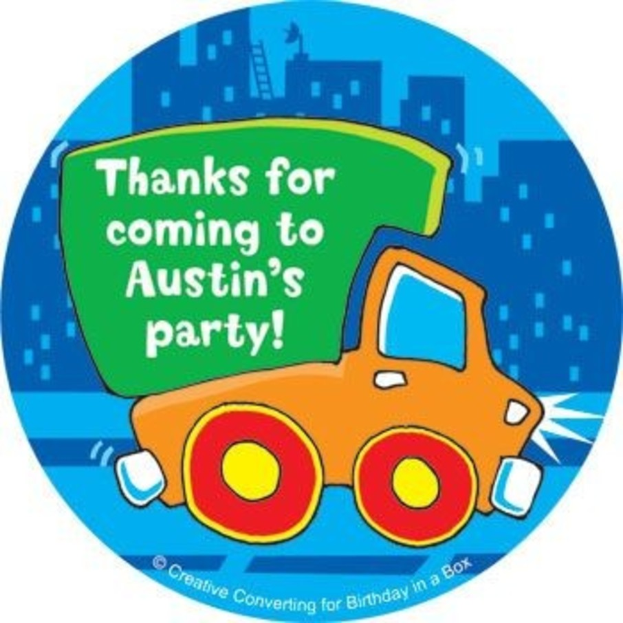 View larger image of Little Truck Party Personalized Stickers (sheet of 12)