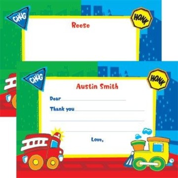 Little Truck Party Personalized Thank You Note (each)