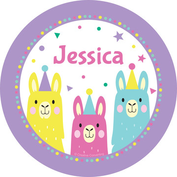 Llama Party Personalized Mini Stickers,Sheet of 24