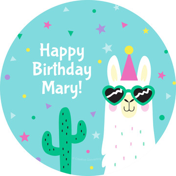 Llama Party Personalized Stickers, Sheet of 12