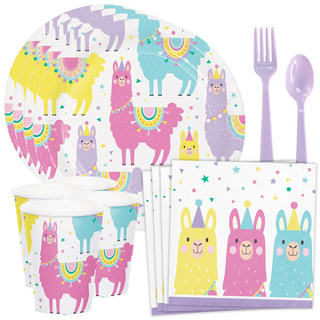 Llama Party Standard Tableware Kit (Serves 8)