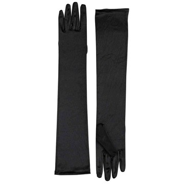 Long Satin Gloves - Black