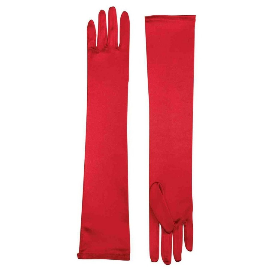 View larger image of Long Satin Gloves - Red