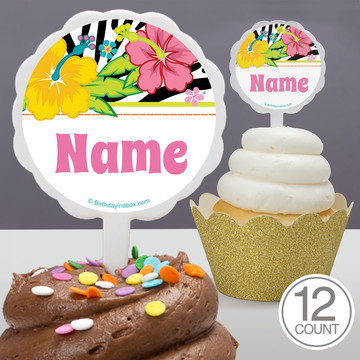 Luau Fun Personalized Cupcake Picks (12 Count)