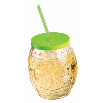 Luau Hula Straw Hut Glasses Set w/ Straws (4 Count)