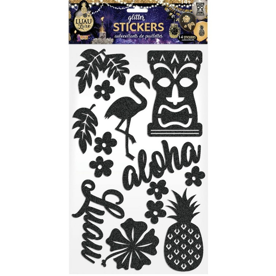 View larger image of Luau Luxe Black Decorative Glitter Stickers (14 Pieces)