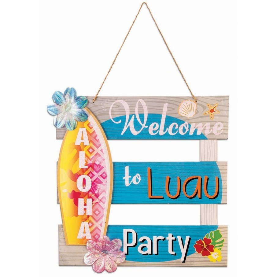 """View larger image of Luau Paper Aloha 12"""" x 12"""" Welcome Sign"""