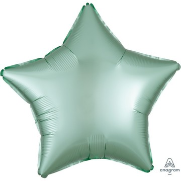 Luxe Sateen 19 Foil Star Balloon - Mint Green