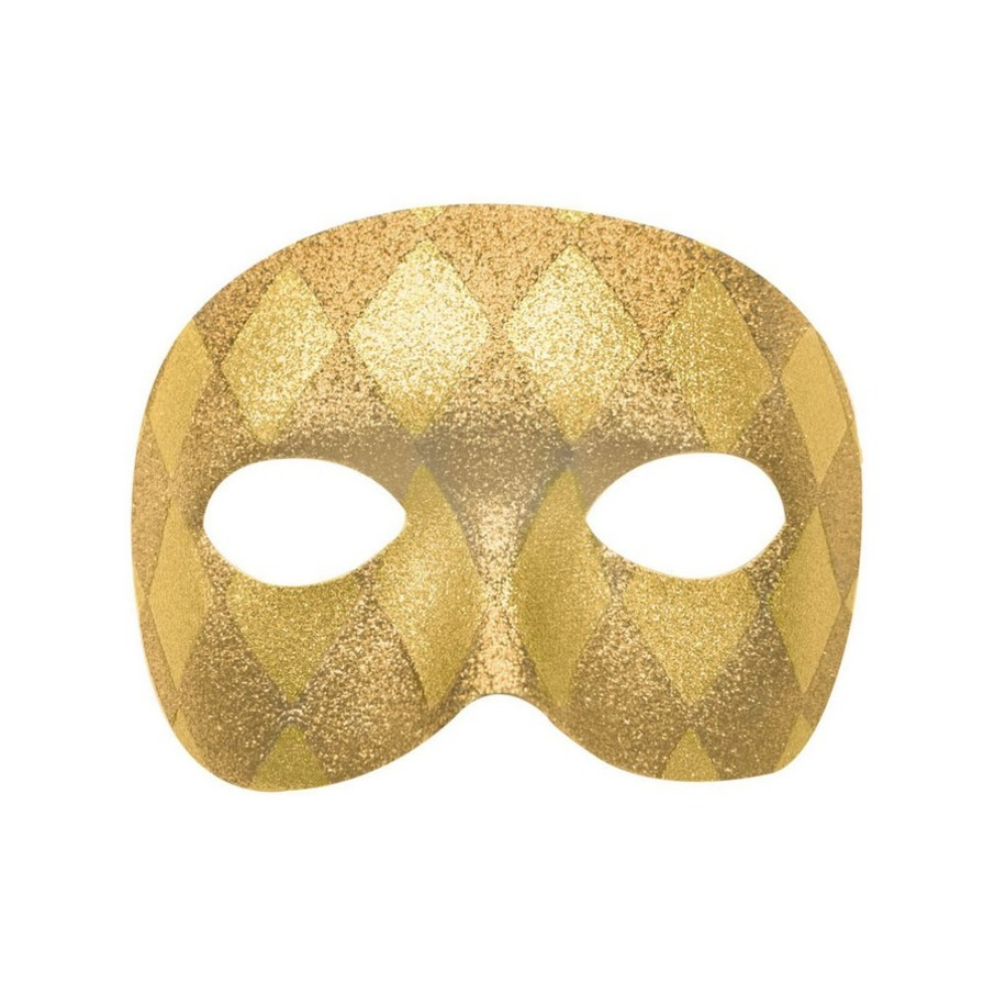 View larger image of Mardi Gras Gold Harelquin Adult Mask