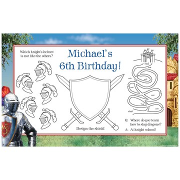 Medieval Knight Personalized Activity Mats (8-Pack)