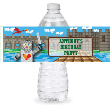 Medieval Pixels Personalized Bottle Label (Sheet of 4)