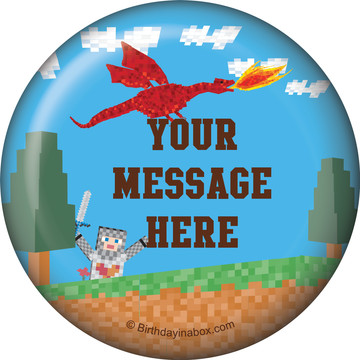 Medieval Pixels Personalized Button (Each)