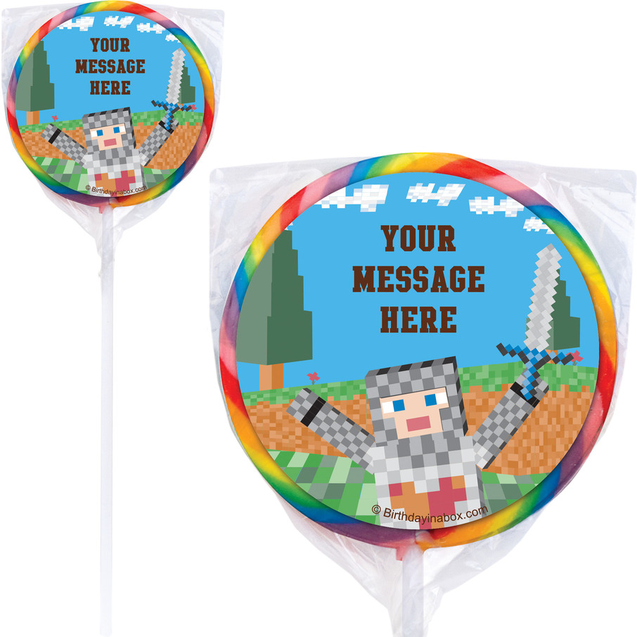 View larger image of Medieval Pixels Personalized Lollipops (12 Pack)