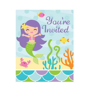 Mermaid Friends Birthday Party Invitations (8 Count)