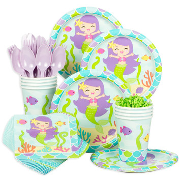 Mermaid Friends Birthday Standard Tableware Kit (Serves 8)