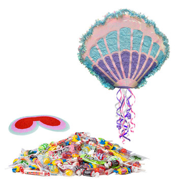 Mermaid Sea Shell Pull String Pinata Kit