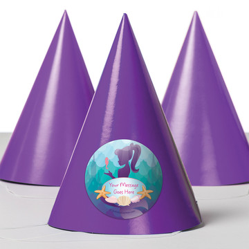 Mermaid Under the Sea Personalized Party Hats (8 Count)