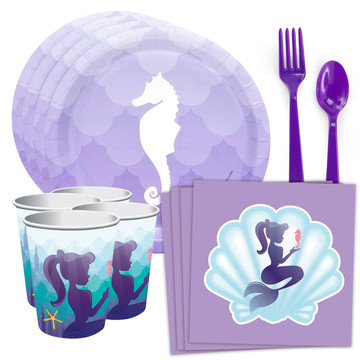 Mermaids Under the Sea Standard Tableware Kit With Plastic Cups (Serves 8)