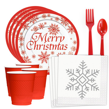 Merry Christmas Snowflake Standard Tableware Kit (Serves 20)