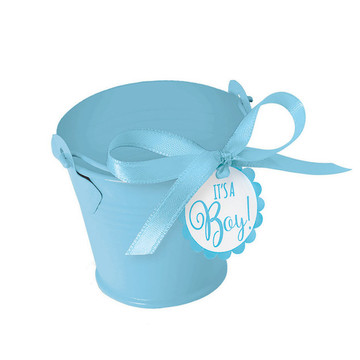 Metal Blue Pail Baby Shower Favor Kit (8 Count)