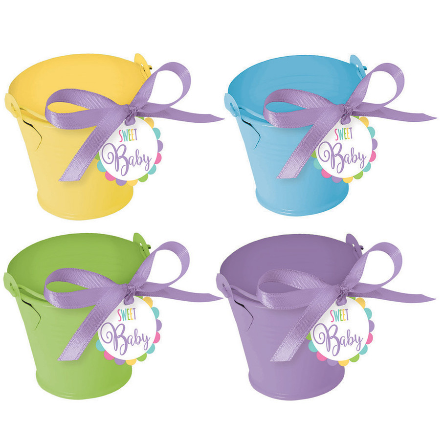 View larger image of Metal Pastel Pail Baby Shower Favor Kit (8 Count)