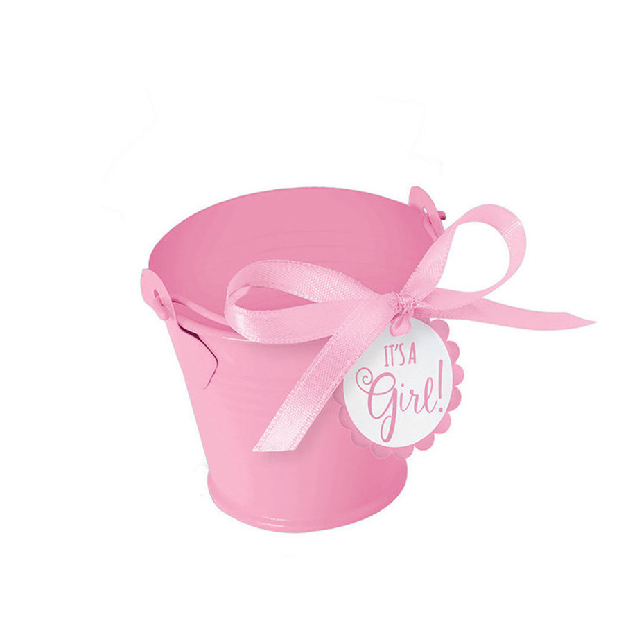 View larger image of Metal Pink Pail Baby Shower Favor Kit (8 Count)