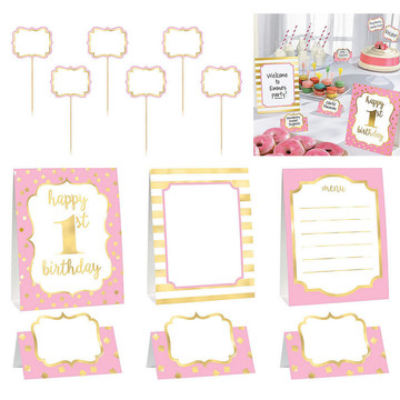 Metallic Pink & Gold 1st Birthday Buffet Decorating Set