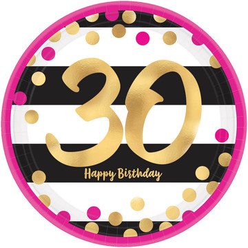 Metallic Pink & Gold 30th Birthday Lunch Plates (8)