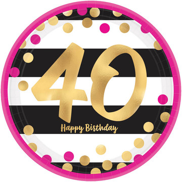 Metallic Pink & Gold 40th Birthday Lunch Plates (8)