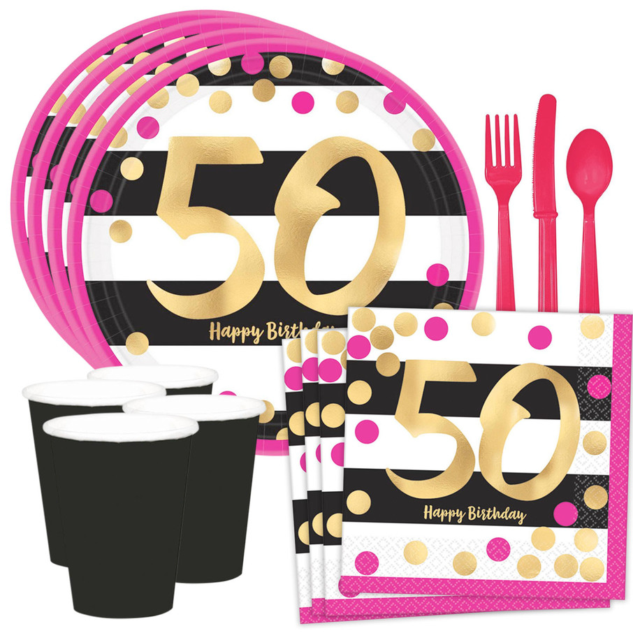 View larger image of Metallic Pink & Gold 50th Birthday Dessert Standard Tableware Kit (Serves 8)