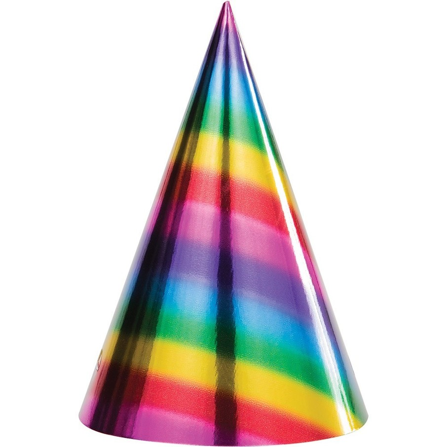 View larger image of Metallic Rainbow Cone Hats (8)
