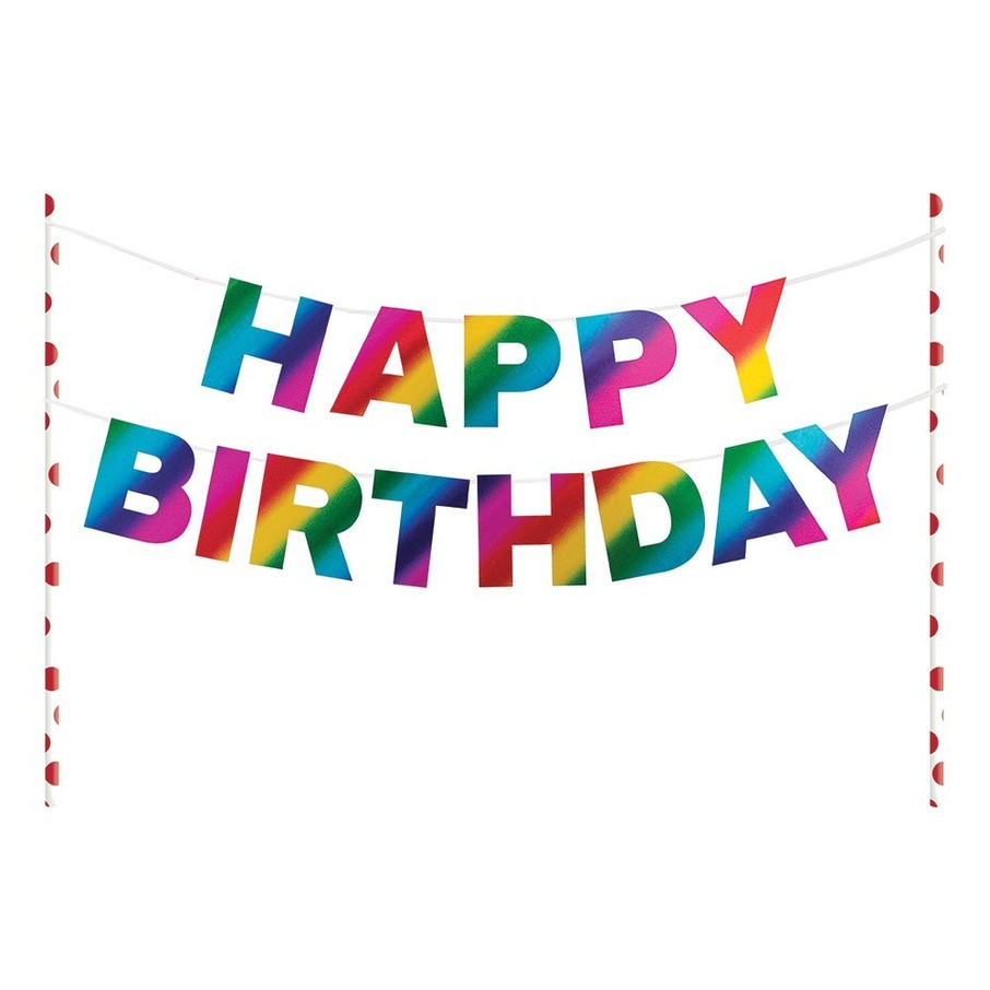 "View larger image of Metallic Rainbow ""Happy Birthday"" Pennant Cake Topper"