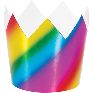 Metallic Rainbow Plastic Crowns (8)