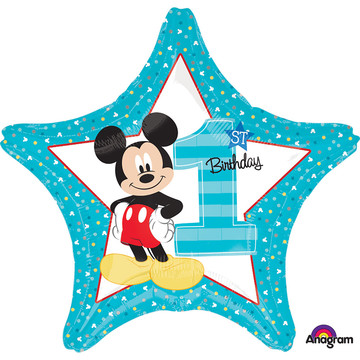 "Mickey 1st Birthday 19"" Star Balloon (Each)"